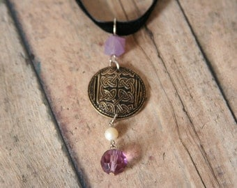 Celtic Knot Necklace Brass and Purple Jewelry - made from a button and beads