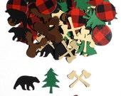 Lumberjack Camping Themed Birthday Party Confetti Decoration Bear Moose Axe Tree Buffalo Plaid - Set of 100 Assorted Pieces