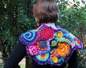 Rainbow Freeform Crochet Shawl Cape Scarf Poncho Wrap