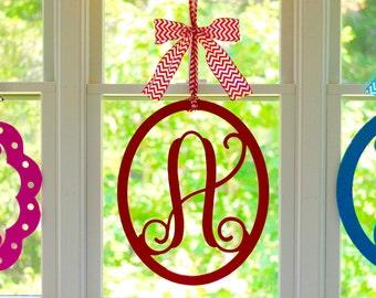 Monogram Letter - Monogram Door Wreath - 12 Color Choices - 50 Bow Options