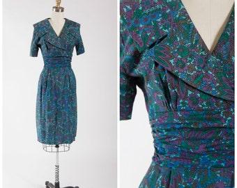 Vintage 1950s Dress • Best Kept Secret • Green Blue Floral Print 50s Wiggle Dress by Jonathan Logan Size Small