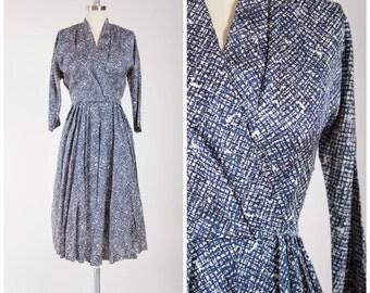 Vintage 1950s Dress • Comely Glisten • Blue Black Mid Century Print 50s Vintage Dress Size Medium