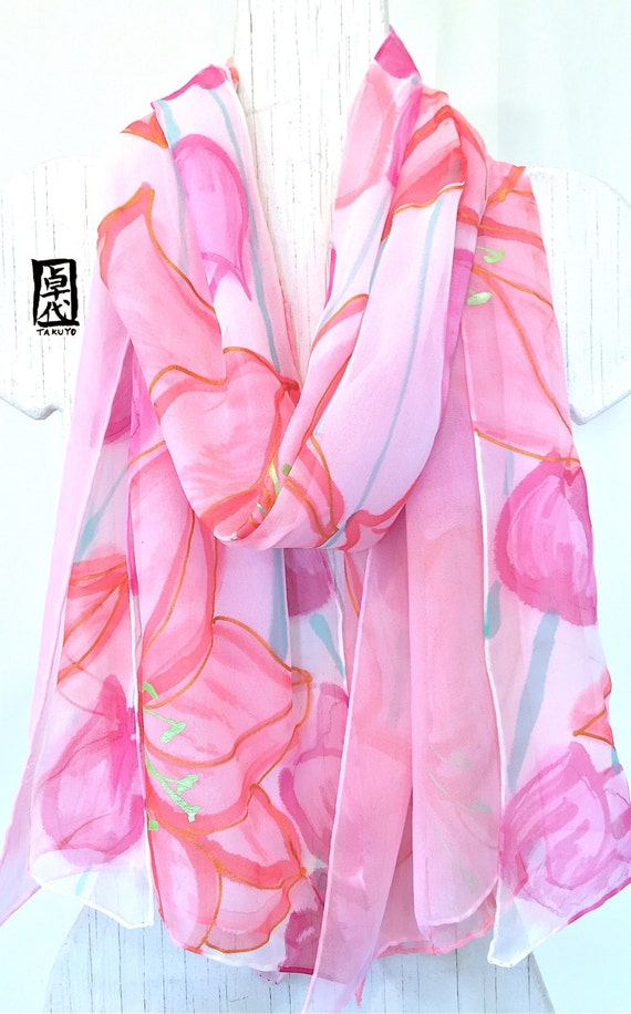 Reversible Scarf, Hand Painted Silk Scarf Large, ETSY, Pastel Pink Lilies and Tulips Scarf, Double Layer Chiffon Scarf Silk, 14x72 inches