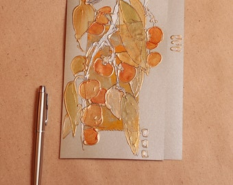 Silver branch of Japanese persimmon - large blank greeting card - Chinese plum fig, kaki, asia, original painting, winter fruits, orange sun