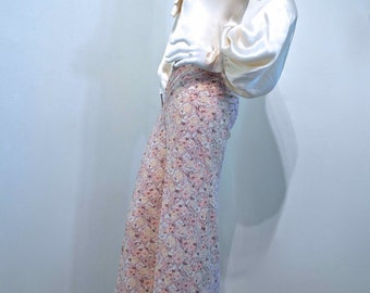 Vintage 1970s BIBA Trousers Bells Flared Pants // Printed Cotton // Hip Hugger Style // XS