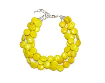 Statement Necklace, Yellow Necklace, Yellow Statement Necklace - Yellow Bridesmaid Necklace Yellow Earrings Yellow Bridesmaid Gift