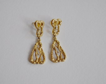 Big rare 14k Solid Gold Brutalist Vintage Post Earrings Hallmarked Organic Abstract Design