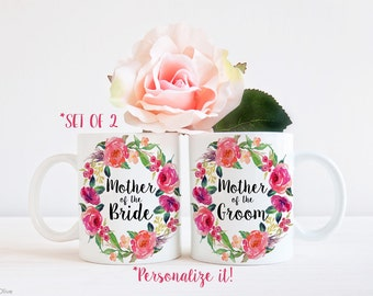 Mother of the Bride Mug, Mother of the Groom Mug, Set of 2 Mugs, Mother of Bride, Mother of Groom, Wedding Party Favors, Coffee Mug, W0018PR