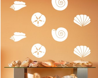 Seashells Decals | Vinyl Wall Decals | Bathroom Decor | Sand Dollar | Scallop Shell | Conch Shell | Beach Decals | Nautical Decals | 22579
