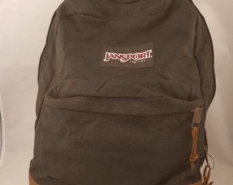 Vintage Jansport Backpack Black Canvas 90s leather bottom USA Made Book Bag