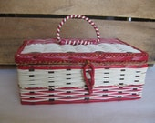 Vintage Sewing Notions Basket, Made in Japan, Red White Gold, Sewing Storage, Organization