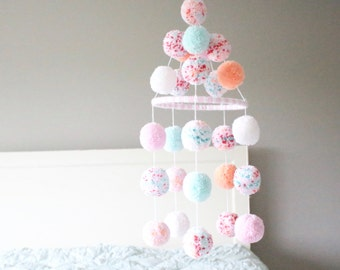 POM POM MOBILE - coral + mint + peach + white + light pink + confetti pom pom mobile - darling mint + coral + pink baby mobile