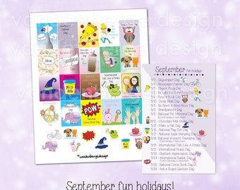 Printable Planner Stickers -September Fun Holidays -Files included for the vertical Erin Condren Life Planner & The MAMBI Happy Planner