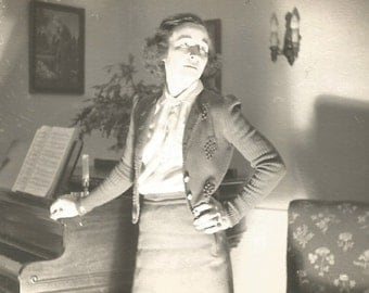 """Vintage Photo """"The Voice Lesson"""" Woman Poses Next To Baby Grand Piano - Dramatic Lighting - Found Vernacular Photograph"""