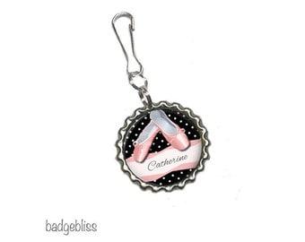 Personalised Ballet, dance bottlecap zipper pull, bag charm - Ballet, dance zip pull.
