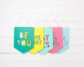Wood Banner Wall Hanging - Custom Quote Wood Sign - Wood Wall Flag - Colorful Wall Sign - Personalized Sign Gift for Best Friend