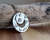 Be Mine Necklace / Silver Bee & Hive Hand Stamped Necklace / Perfect Valentine's Gift / Super Cute