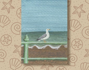 Brighton Seagull hand painted ACEO / ATC. Miniature painting of a seagull at Brighton beach