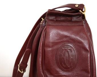 Vintage MUST DE CARTIER bucket shoulder bag // Burgundy leather