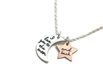 SALE I Love You To The Moon And Back -  Custom Pewter Moon And Copper Star - Mommy  Gift For Her Anniversary Gift - Engraved Jewelry