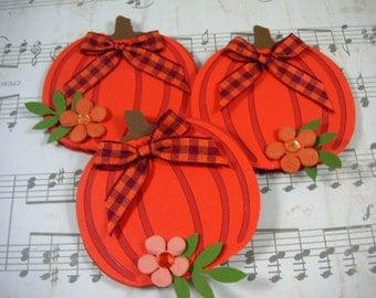 3 Handmade Pumpkin Fall Thanksgiving Embellishments, 3D Embellishments, Scrapbook Embellishments, Cards, Topper