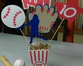 Baseball Centerpiece #1, Home Run Baseball Centerpiece, Glove, Ball, Star with Age for Birthday Parties