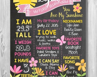 You are My Sunshine Themed Custom Chalkboard Sign