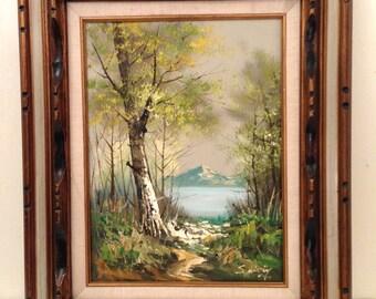 Large Vintage LANDSCAPE Oil Painting Signed Framed Oil on Canvas Lake Mountain Scene