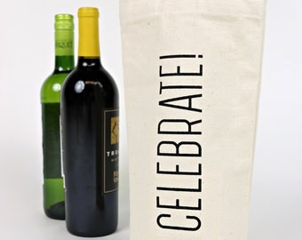 Wine Tote - Recycled Cotton Canvas - Classic Celebrate