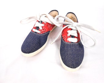 Keds/ 90s Sneakers/ Oxford Shoes/ 90s Shoes/ Hipster Shoes/ Rockabilly Shoes/ Club Kid Shoes/ American Flag Shoes/ Denim Shoes/ Canvas Shoes