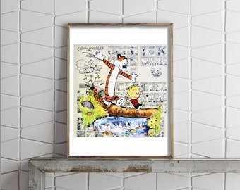 Paper Print of Calvin and Hobbes Exploring