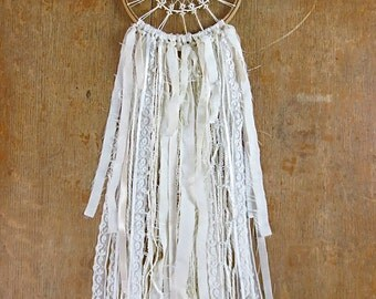 Handmade Dream Catcher / The Adeline Vintage Dreamer with Antique Doily, Lace, Ribbons / One of A Kind