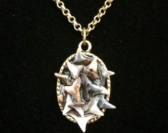Shark-tooth-fossil-bronze-oval-small-pendant-necklace