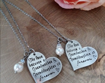 Grandmother and Grandaughter matching necklace set, gift for Granddaughter, Gift for Grandmother, Grandmother necklace, Grandma jewelry
