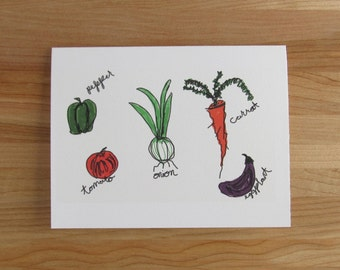 Fresh Veggies Greeting Card - Birthday, Valentine, Thank You, Best Friend, Mothers or Fathers Day Card for him or her