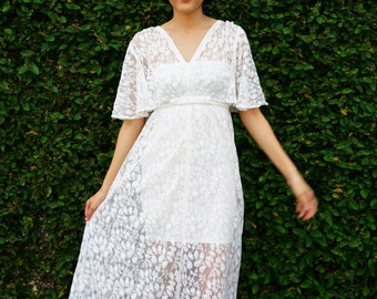 Vintage Revival of 1970s Maxi Dress, Lace Dress, Maxi Dress, Boho Dress, Peasant Dress, Lace Maxi Dress, 70s Style Dress, Retro Clothing