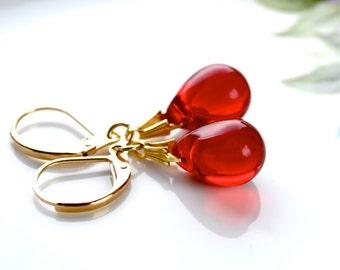 Ruby Red Earrings, Red Glass Earrings, Ruby Anniversary, Red Jewelry, Red Dangle Earrings, Red Bridesmaid Drop Earrings, Teardrop Earrings