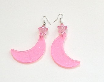 Candy Mystic - Pink Glitter Moon and Star Earrings