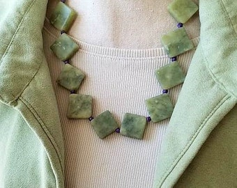 Gemstone Necklace, Green Necklace, Jade Necklace, Beaded Necklace, Statement Necklace, Stone Necklace, New Jade Necklace, Jade Jewelry