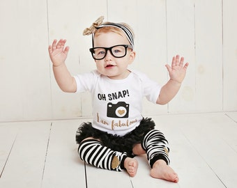 Baby Girl Clothes, Funny Baby Gift, Trendy Baby Clothes, Photographer Gift, Oh Snap I Am Fabulous Gold Black Sequin Bow Headband Leg Warmers