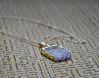 Amethyst and Gold Slice Necklace