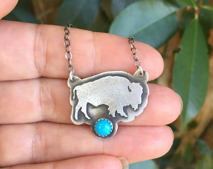 Featured listing image: Sterling Silver Bison Turquoise Necklace - Bison Necklace - Buffalo Necklace - Silver Turquoise necklace
