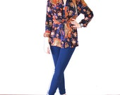 Lovely Aztec Front Tie Gypsy Southwestern Abstract Print Lightweight Blouse // Women's Small S Medium M