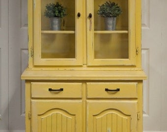 Yellow Heavily Distressed Hutch