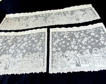 """SALE Vintage Off-White Lace Garden Curtain Set 9 Piece  3 windows 29""""w x 25""""l  15""""l x 57""""w"""