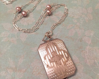Vintage Locket, Rectangular Etched Locket with Pink Pearl Chain, Wedding Locket, Gift for Her