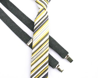 Boys Neck Tie Yellow and Gray, Yellow Striped Tie, Wedding Ring Bearer, Toddler Boy Tie, Baby Neckties, Boys Grrey Striped Tie, Boys Necktie