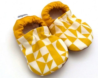 SALE - yellow baby shoes yellow booties for baby geometric baby shoes abstract baby shoes vegan baby shoes soft sole shoes baby girl shoes