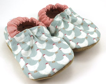 LAST PAIR 0-6 mos // baby chicken shoes chicken clothing baby booties baby boy shoes baby girl shoes soft sole shoes vegan baby farm