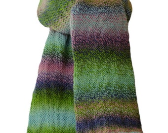 Hand Knit Scarf - Rose Slate Blue Green Striped Keepsake Wool